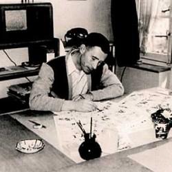 Hergé saisi en pleine activité le 15 avril 1949