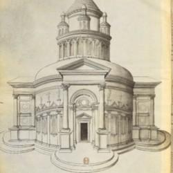 Modèle d'architecture à l'antique, dessin sur vélin