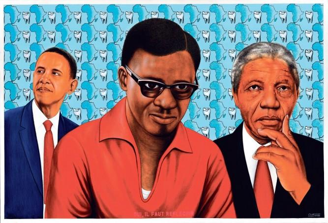 """""""Beauté Congo"""", Fondation Cartier pour l'art contemporain, acrylique sur toile de 2014 de Chéri Samba"""